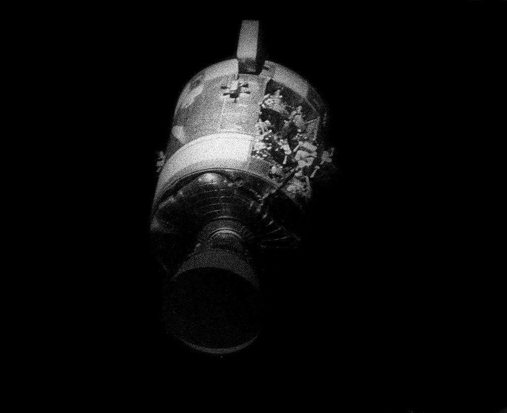The damaged command module of Apollo 13