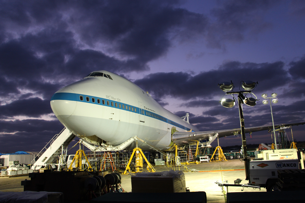 The shuttle carrier aircraft is dismantled