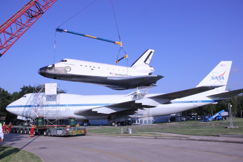 Shuttle is placed atop the shuttle carrier aircraft
