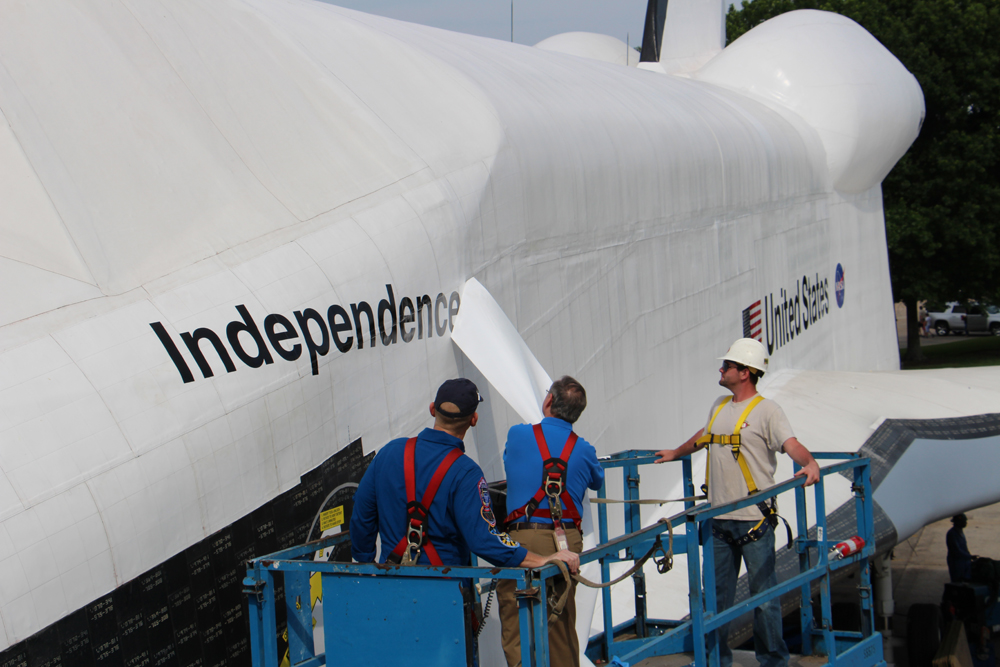 The shuttle's new name, Independence, is unveiled