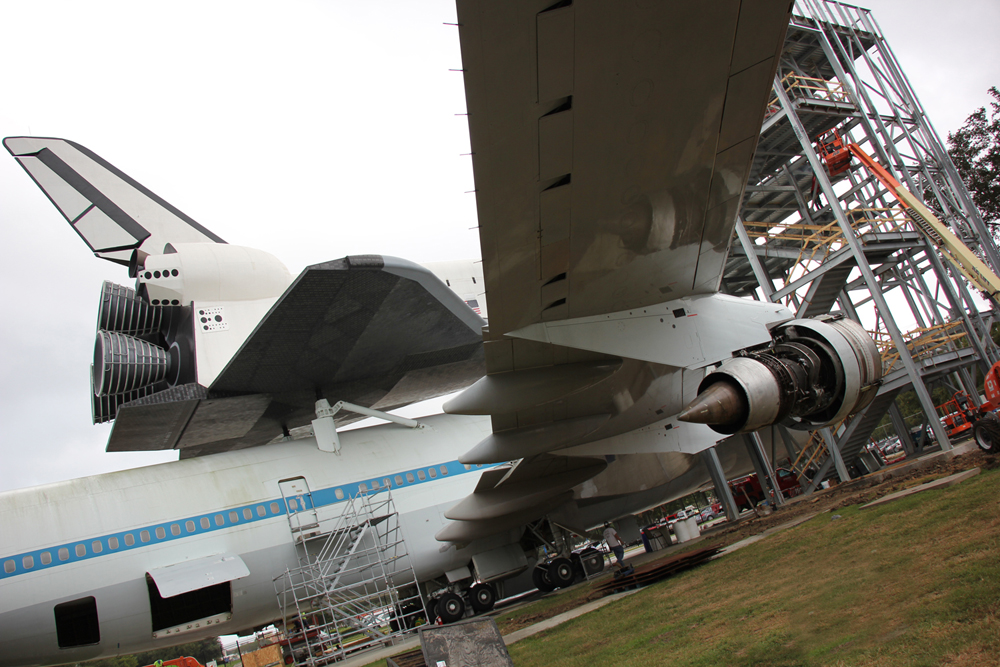 Visitors can walk through the shuttle replica and shuttle carrier aircraft
