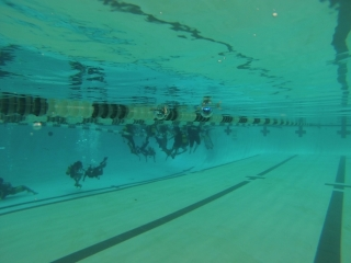 Students descend into the pool's deep end