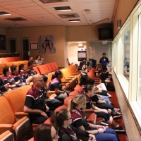 Students on NASA tour at Historic Mission Control