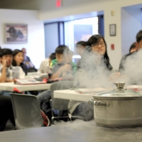 Students learn about thermal systems by conducting a cryogenics test