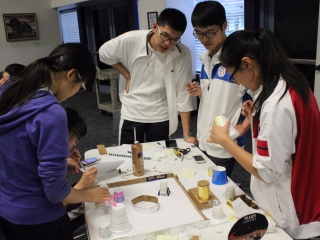 Students work in teams to build a martian habitat