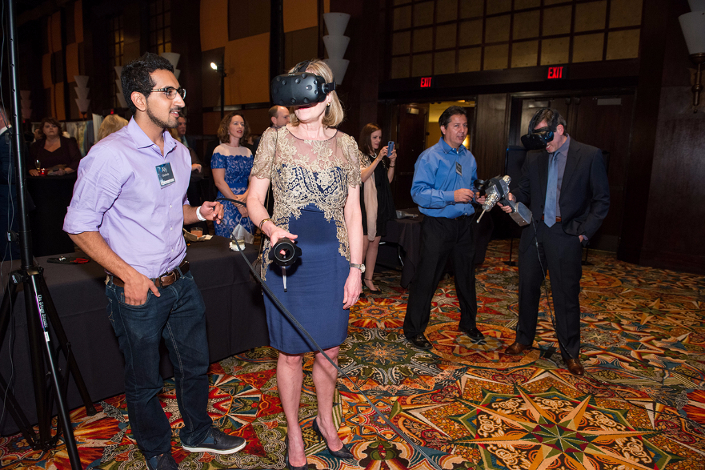Guests test out virtual reality simulations at the Galaxy Gala.