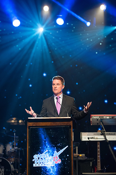 A presenter speaks at the 2017 Galaxy Gala.