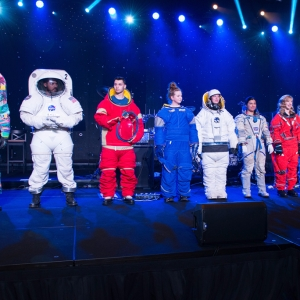Spacesuits are modeled on stage.