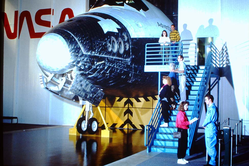 Visitors enter the walk-through shuttle replica