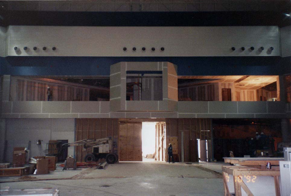 Inside construction of Space Center Houston