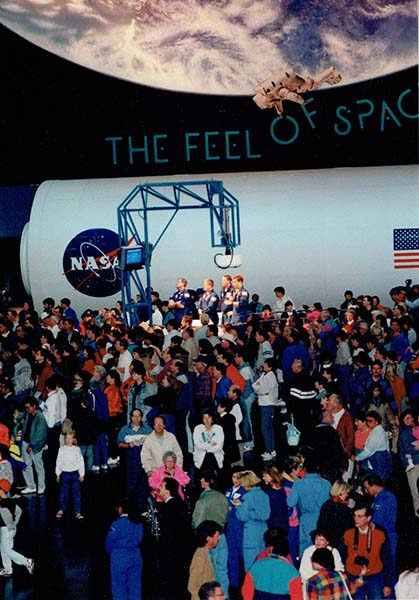 Large crowds at Space Center Houston