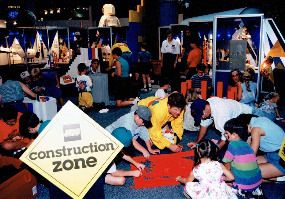 LEGO construction zone at the center