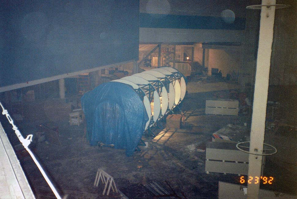 Inside Space Center Houston during construction