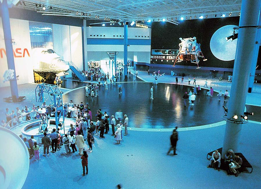 Visitors explore the center and exhibits