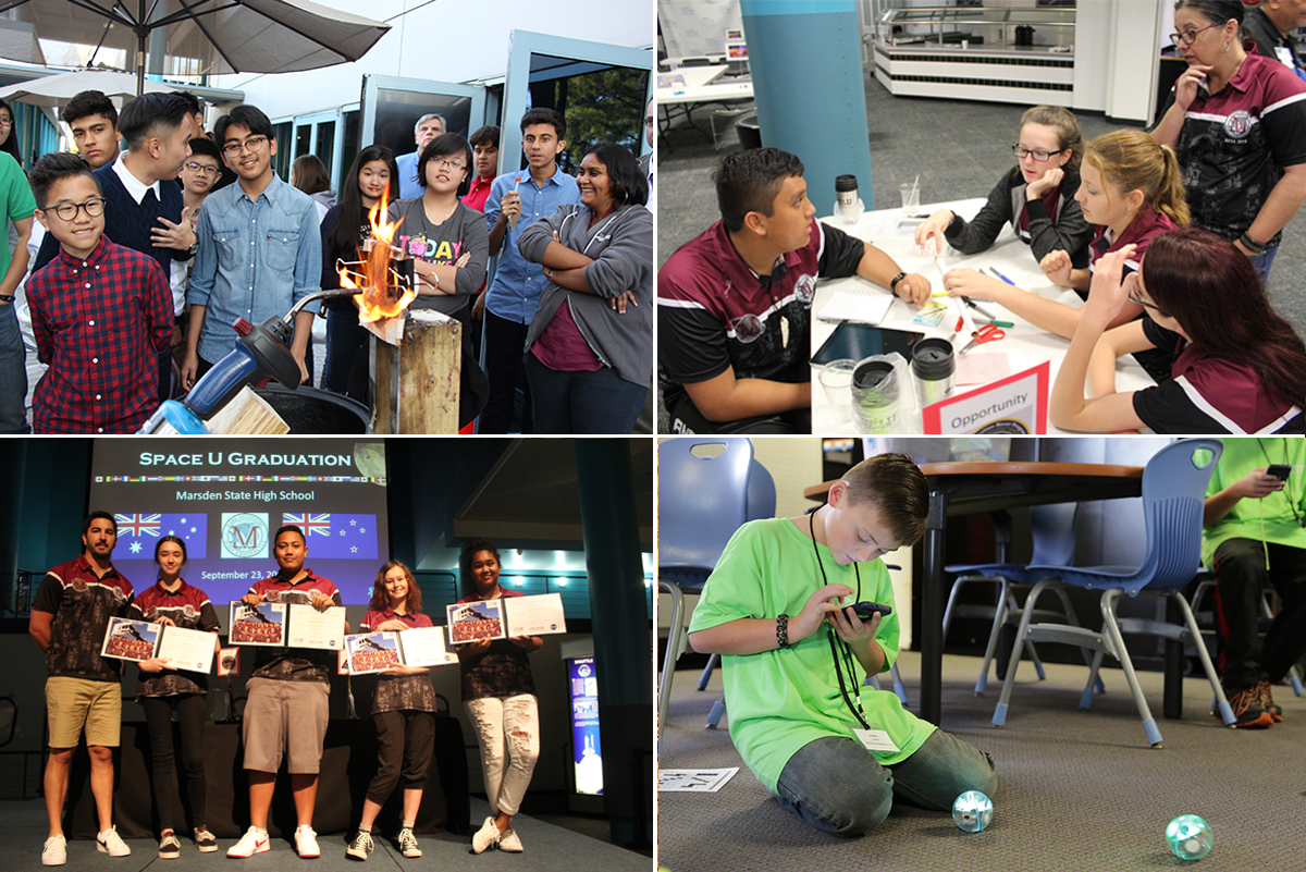 Image collage with students conducting thermal design challenge, building space habitats, programming robots and graduating from Space Center University.