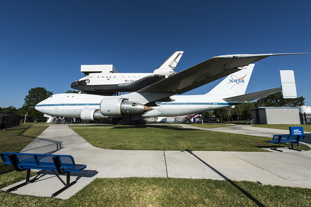 Independence Plaza, which is home to the massive shuttle carrier aircraft, NASA 905, with the high-fidelity shuttle replica on top.