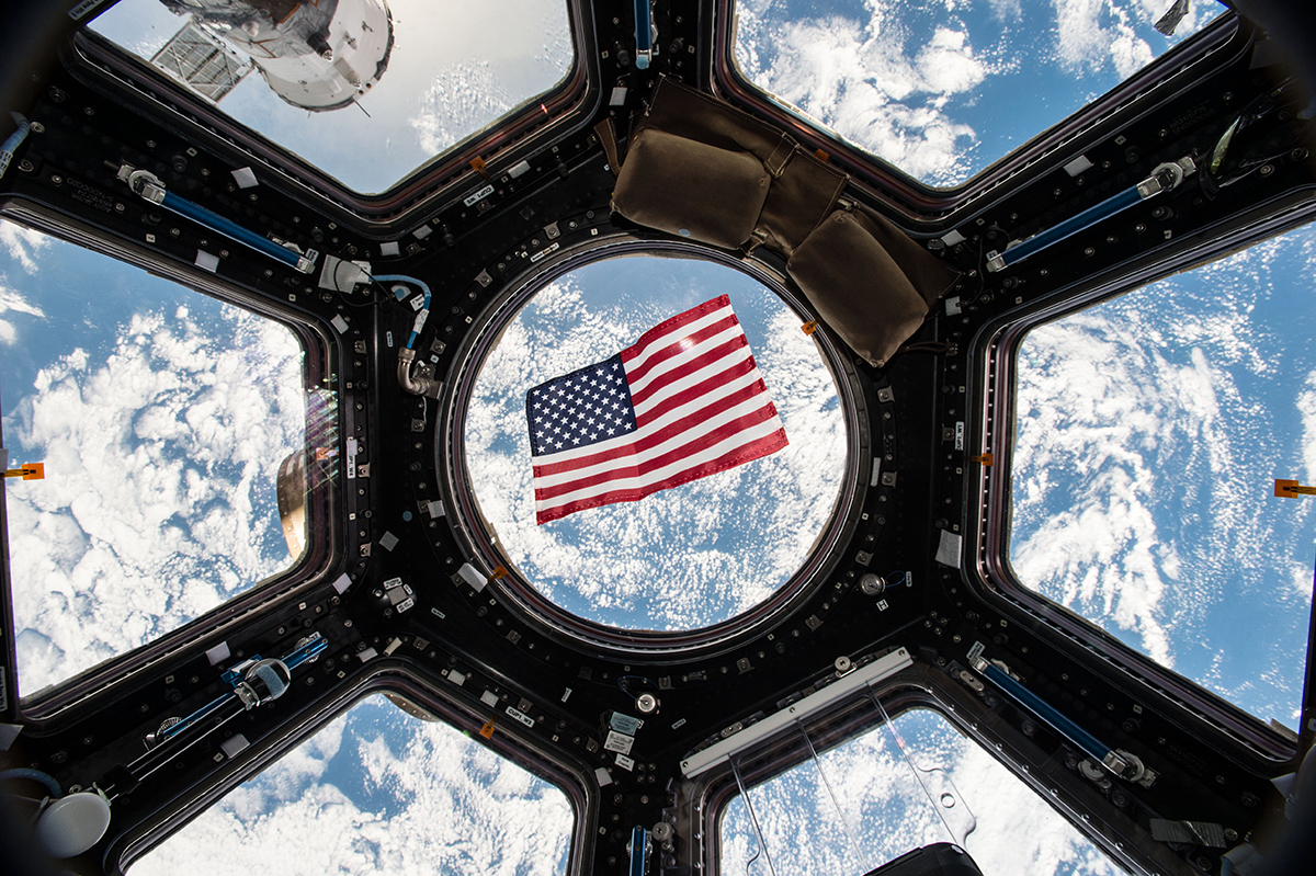 American flag on space station