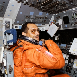 Astronaut Charles F. Bolden aboard the space shuttle Discovery.