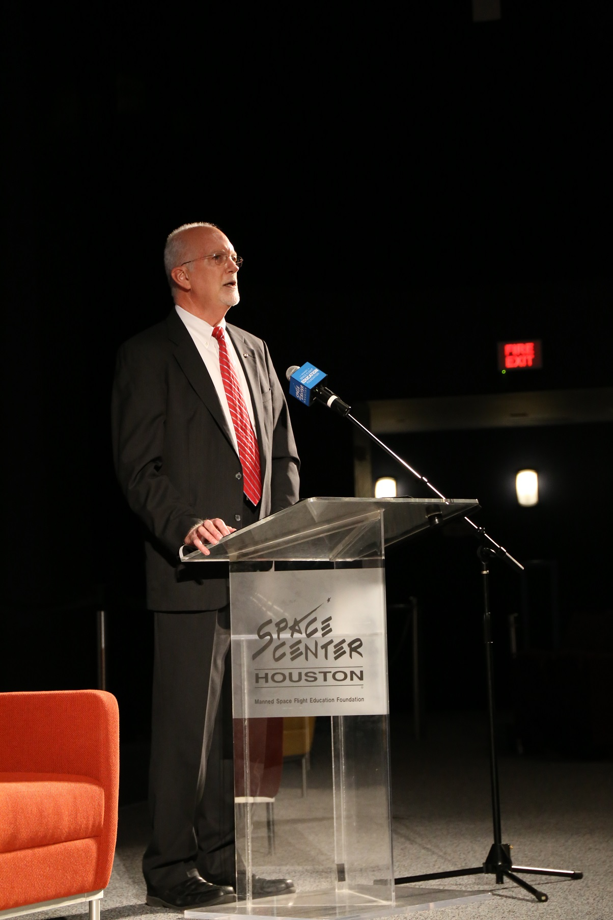 Dr. John Charles speaking at Space Center Houston