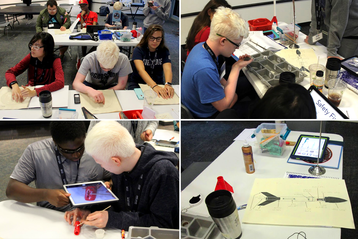 Image collage with students conducting experiments, building robots, constructing space habitats and designing rockets