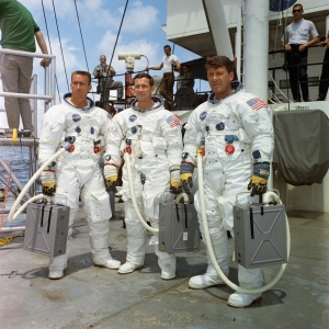 Apollo 7 crew at water egress training in the Gulf of Mexico