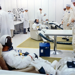 Suiting up operations for Apollo 7