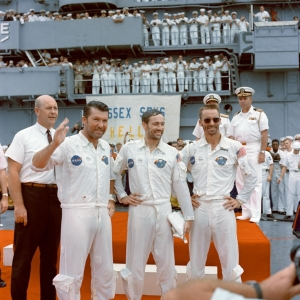 The Apollo 7 crew arrives home on Earth