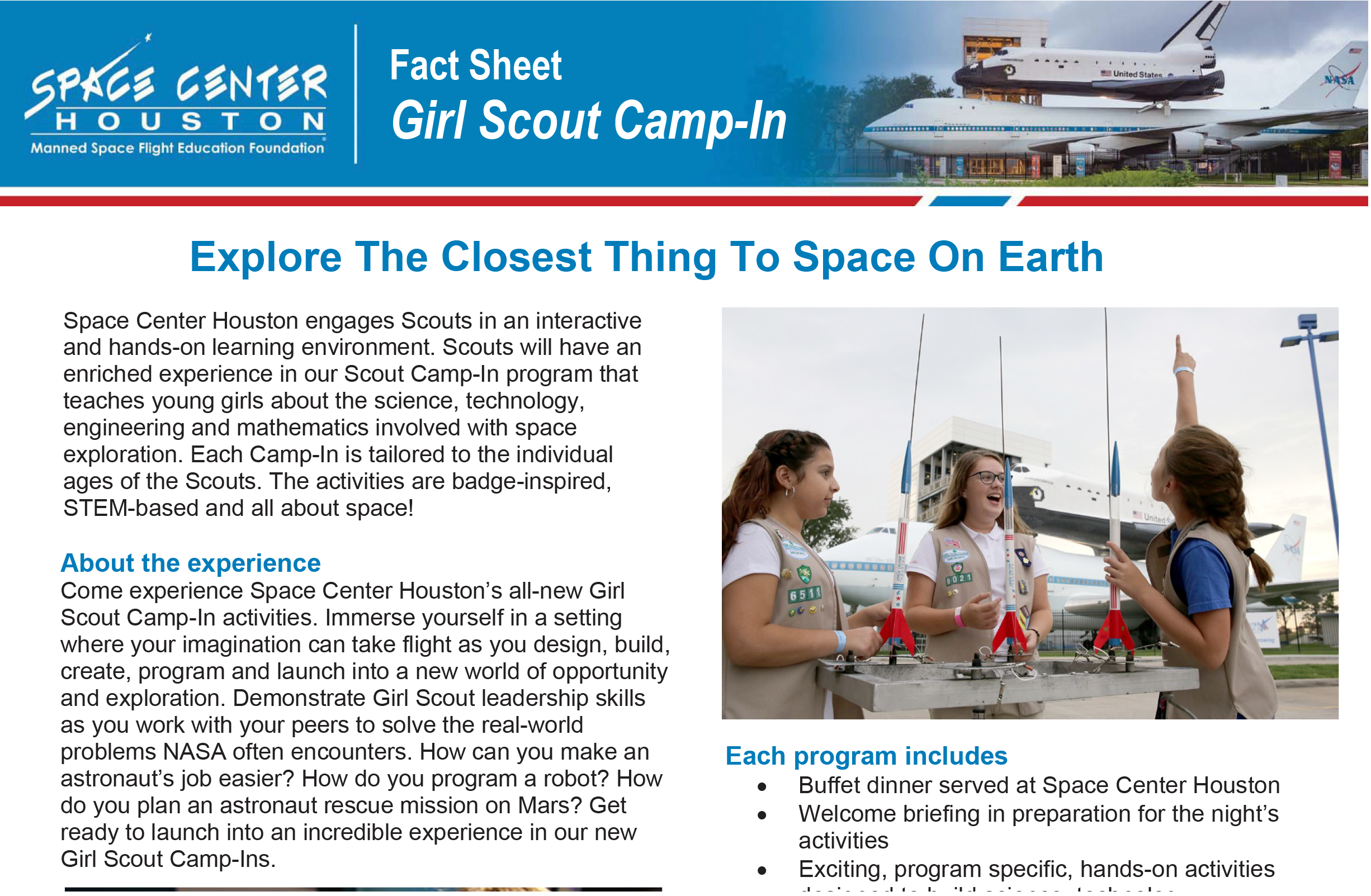 Girl Scout Camp-In Fact Sheet