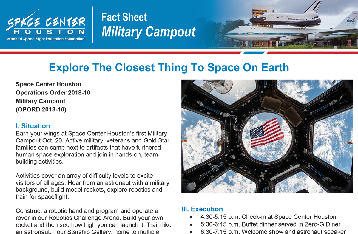 Military Campout Fact Sheet