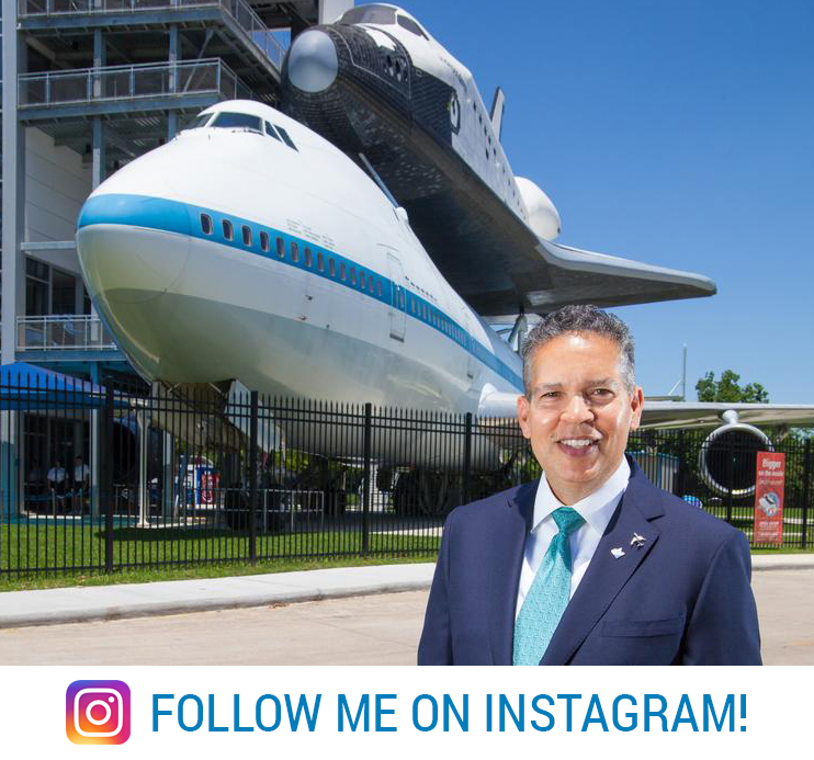 Follow Space Center Houston president and CEO William T. Harris
