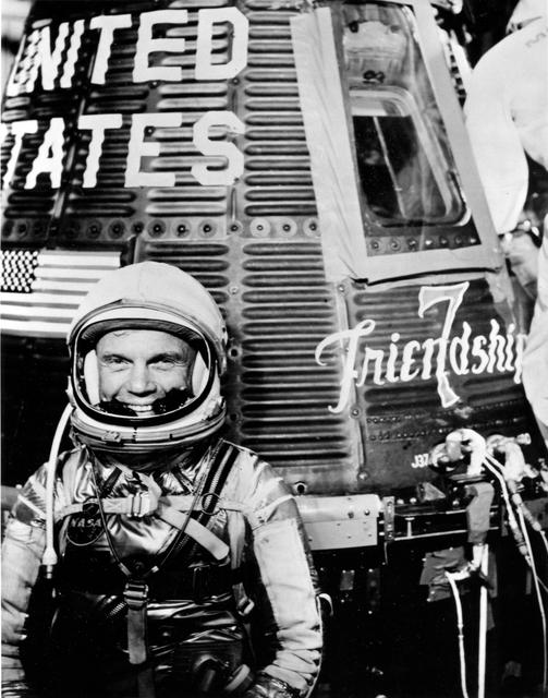 John Glenn next to Friendship 7.