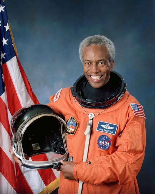 Official portrait of the first African-American to fly into space, Guion Bluford.