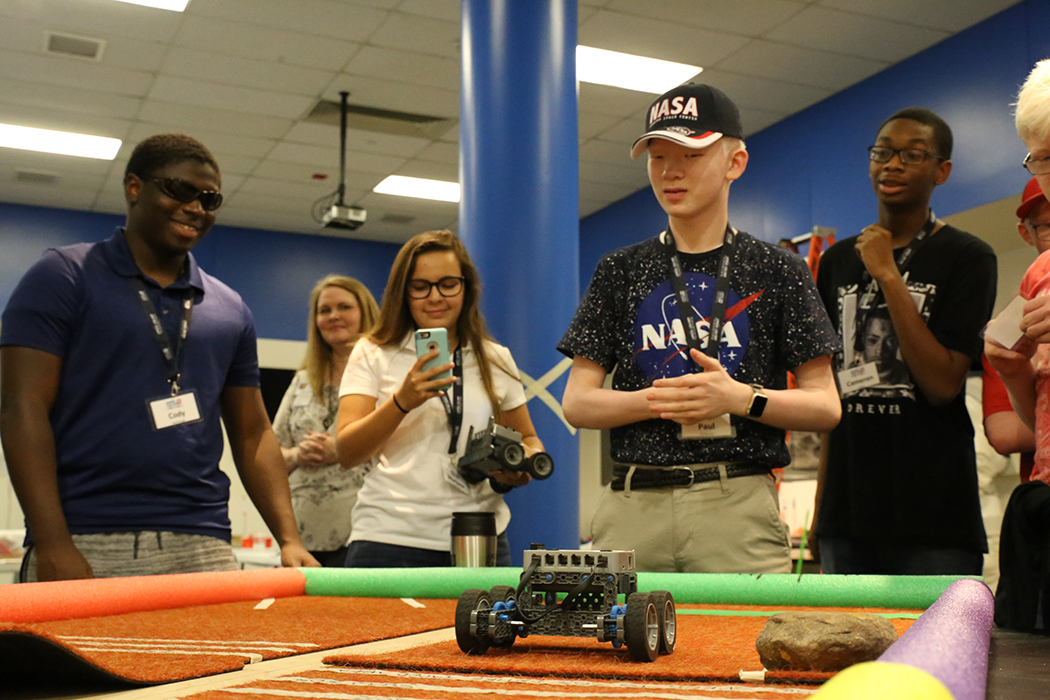 Students complete robotic challenge in Space Center University visual impairment program