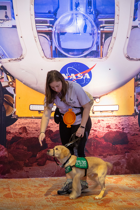 Guide dog in Mission Mars exhibit