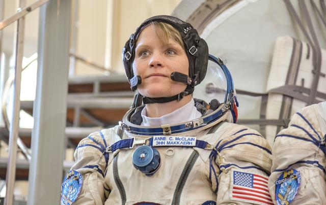 Anne McClain prior to launch to the ISS