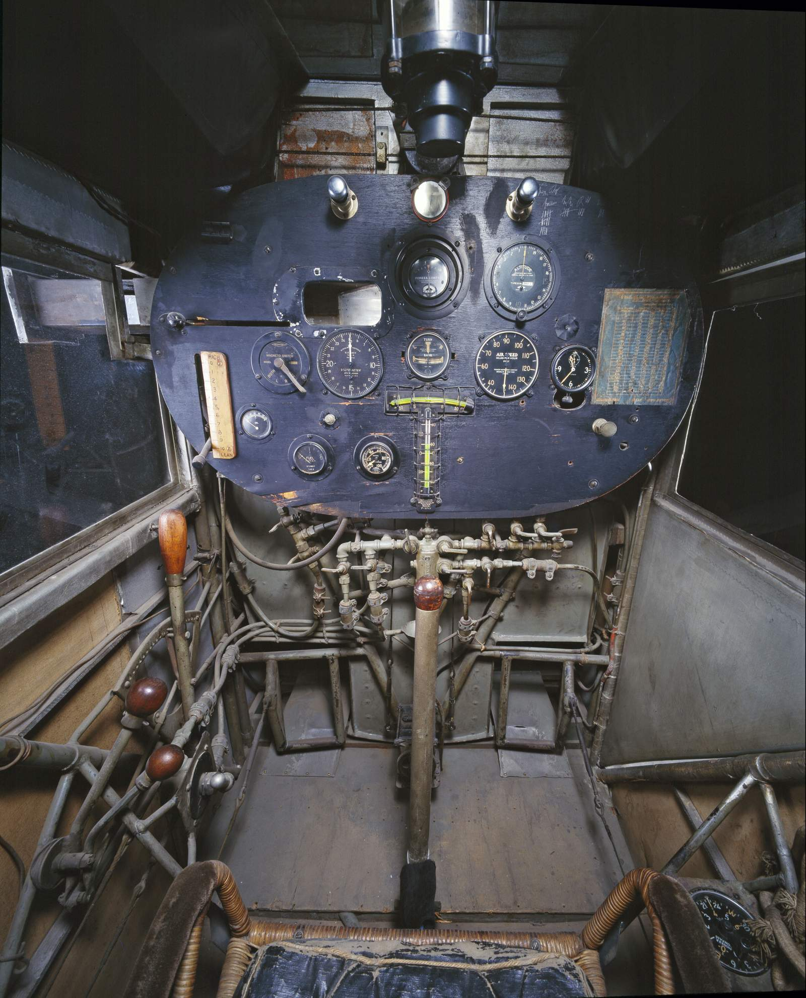 Inside the cockpit of the Spirit of St. Louis