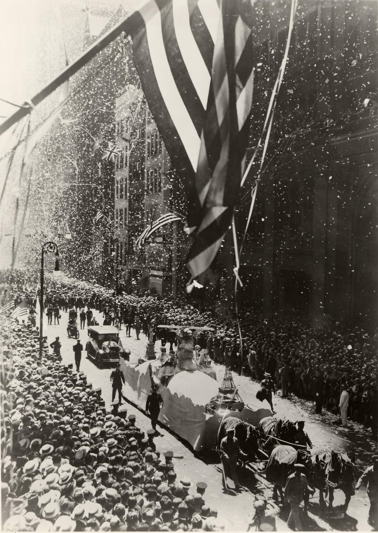 NYC celebration upon Lindbergh's return to the United States, after he became the first pilot to fly solo across the Atlantic Ocean