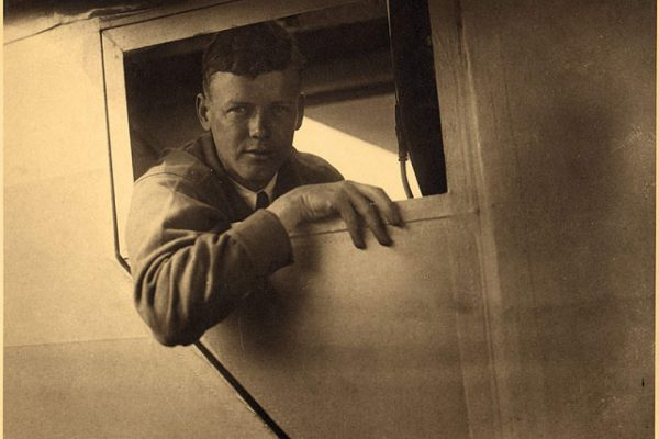 Lindbergh inside the cockpit of the Spirit of St. Louis