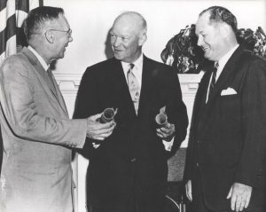 Eisenhower with first NASA Administrator (Glennan) and Deputy Administrator (Dryden)