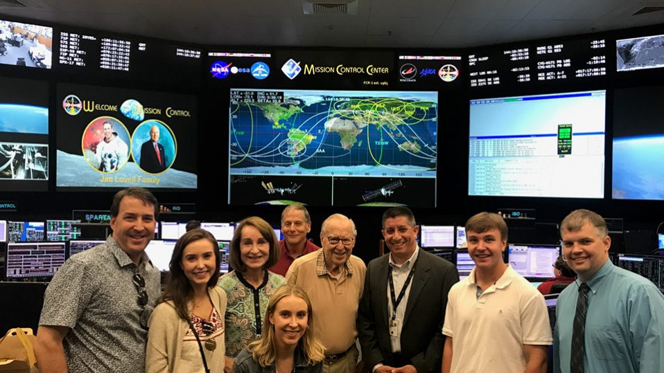 Lovell family in Mission Control Center at NASA Johnson Space Center in 2019.