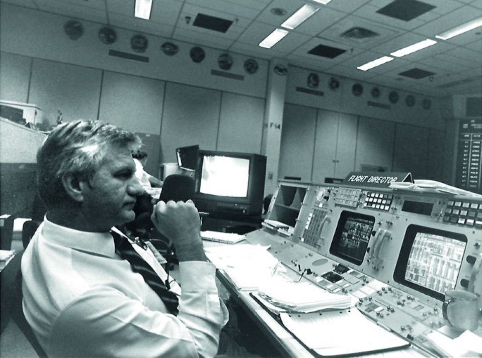 Flight Director Bill Reeves in Apollo Mission Control Center.