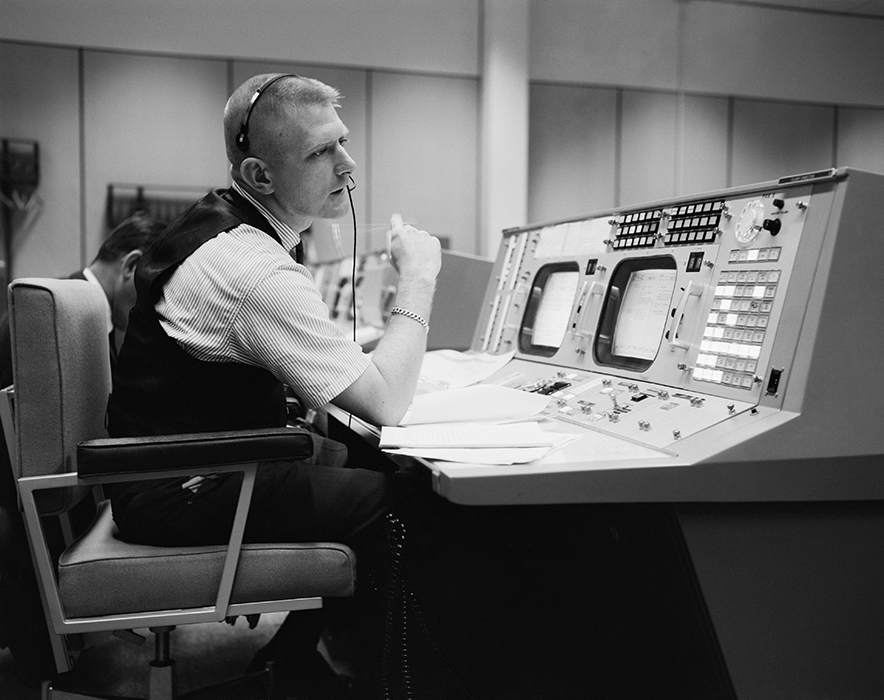 Gene Kranz in Mission Control during Apollo era