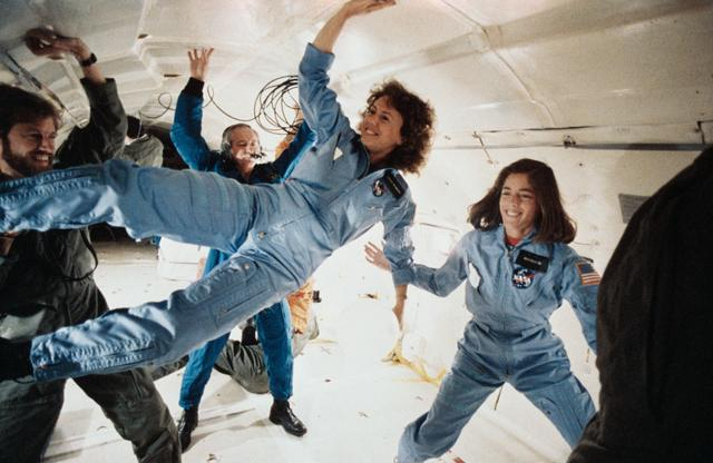 Christa McAuliffe and Barbara Morgan weightless
