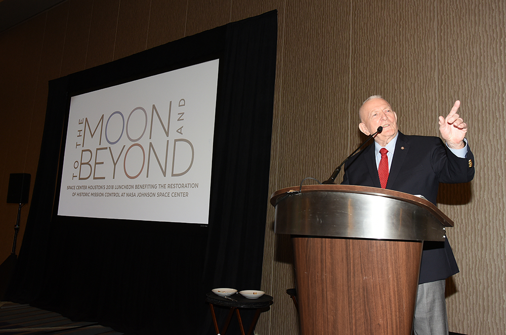Gene Kranz speaking at the To the Moon and Beyond Luncheon