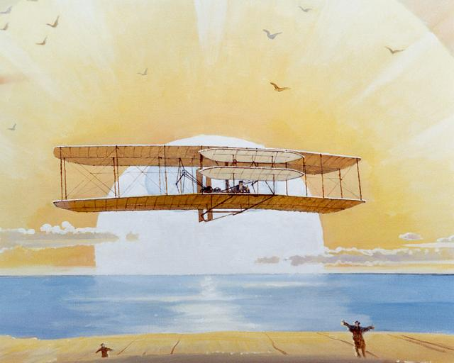 Wright Flyer mural done by Bob McCall.