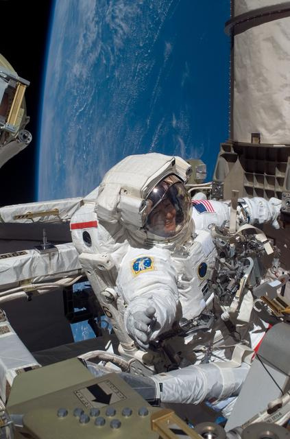 Peggy Whitson participates in an EVA during Expedition 16.