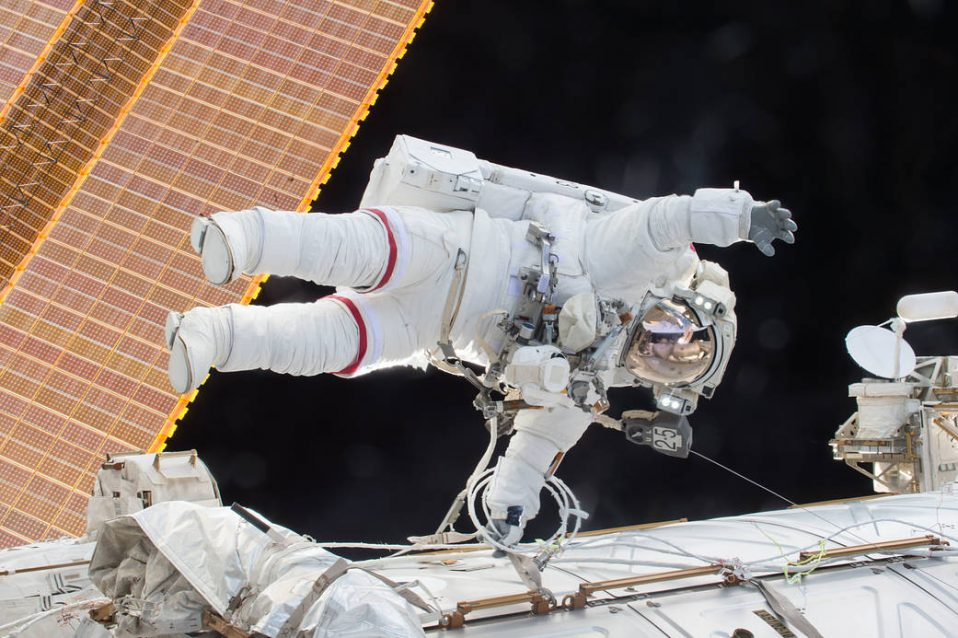NASA astronaut Scott Kelly during an EVA with Expedition 46.