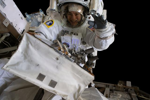 Jessica Meir during the first all-woman spacewalk.
