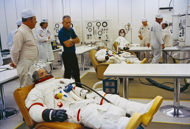 Crew of Apollo 15 suiting up prior to launch