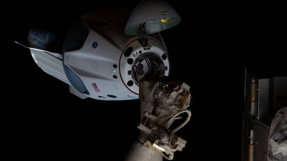 The Demo-2 SpaceX Crew Dragon spacecraft approaches the ISS